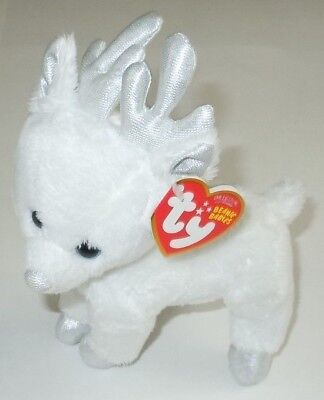 Snocap Reindeer Ty Beanie Babies Baby Plush NEW NWT White Deer Retired Holiday