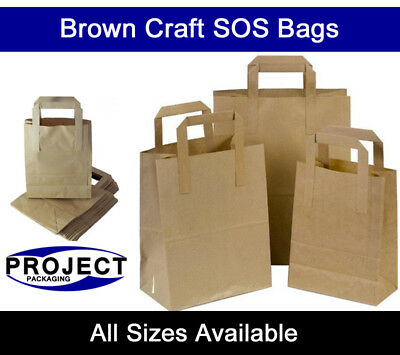 Brown Kraft Paper SOS Carrier Bags with Flat Handles All Sizes Takeaway Gifts