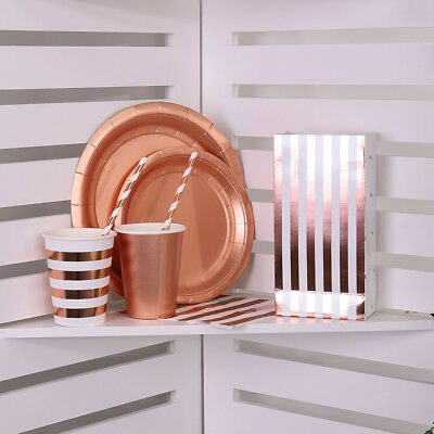 Foil Party wedding Tableware Plates Paper Cup Straw Napkins Box ROSE Gold New