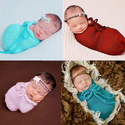Newborn Baby Girl Boy Knit Crochet Bag Photo Costume Photography Prop Outfit TP