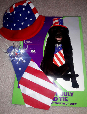 4th of July Dog Uncle Sam Pet Costume Hat & Tie NEW Rubies 1 Size RED WHITE BLUE