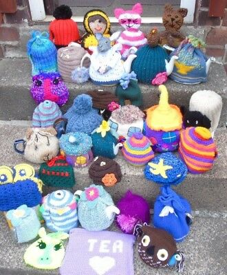 Hand knitted tea cosy cosies crochet Daffodil Bee cottage owl unicorn cat Alpaca
