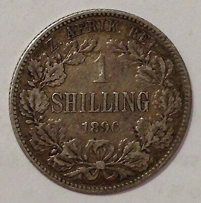 1896 South Africa, One Shilling, Silver Coin, Nice/Rare Antique