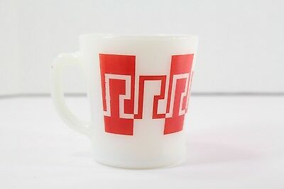 Vintage Anchor Hocking Fire King Milk Glass Red and White Pattern Stack Mug