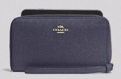 New Coach 58053 Crossgrain leather wallet wristlet Midnight