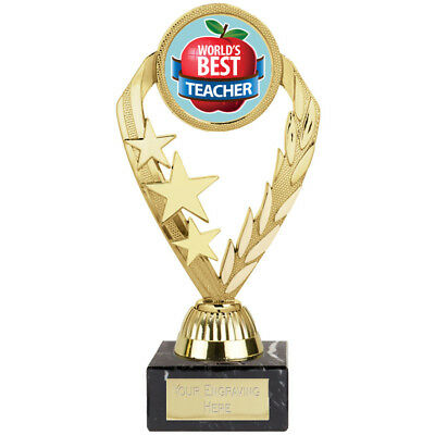"* ""World's Best Teacher Award""  Trophy Gift Prize FREE ENGRAVING"