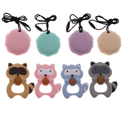 Silicone Animals Shape Baby Teether Teething Pendant Necklace BPA Chew Toy