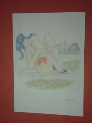 "LEONE FROLLO-TAVOLA illustrazione originale pin up erotica "" firmata"" biancaneve"