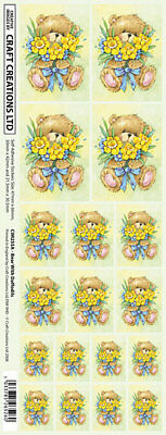 Creation Stickers Bear & Daffodils  For Cards & Craft