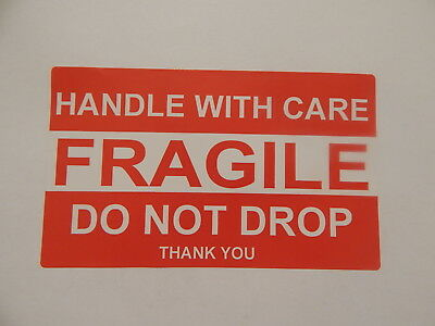 "Sticker Fragile 1 Large Handle With Care Do Not Drop 99 Cents .99 Cent 3"" x 5"""