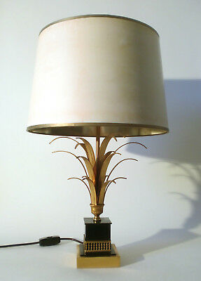 "70s Tischleuchte Boulanger golden ""reed"" table lamp Lampe annees 70 Rizzo era"