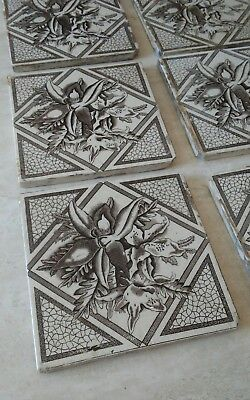 Lot of 7 Antique Victorian Ceramic Glazed Tile Mural Orchids Flowers Art Print