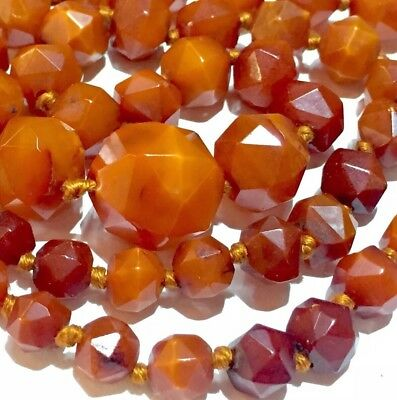 Rare14k 15k ART DECO NATURAL rose cut BUTTER SCOTCH CARAMEL solid amber necklace