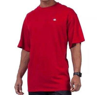CHAMPION Authentic Men's Size 2XL RED T Shirt Silver Embroidered Chest BIG Logo