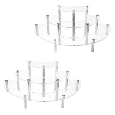 2 Set Table Top Display Risers Acrylic Shelves Stands 3 Tier Retail Spice Stand