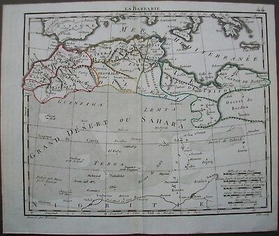 Antique Map Barbary Coast Berber Africa Herisson Engraving by Glot 1816