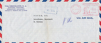 Panama, metered Airmail Cover Panama City to Bayer AG. Germany. Freistempel, 76