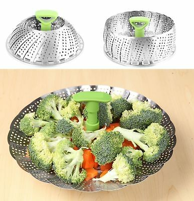 Stainless Steel Foldable Steamer Basket Pan Veg Fish Seafood Cooking Utensil New