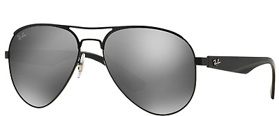 9363f3b6bbc New Ray Ban RB3523 006 6G 59 Matte Black Metal Aviator Sunglasses Silver  Mirror