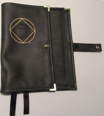 Narcotics Anonymous NA Leather Deluxe Basic Text How & Why Book Cover Black Coin