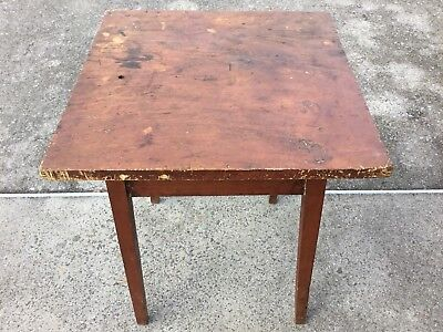 Early Southern One Drawer Splay Leg Table With A One Board Pine Top