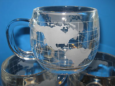 Vintage Nestle World Etched Clear Heavy Glass Coffee Mug (Pre-owned-Used)