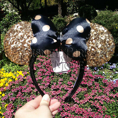 Disney Parks Paris Minnie Sequin Gold Ears Headband with Black Polka Dot Bow