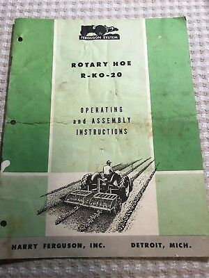 Ferguson System Rotary Hoe R-KO-20 Operating and Assembly Instructions 1952