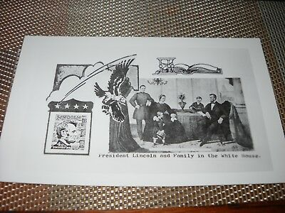 Vintage President Lincoln and Family in the White House Photo Postcard