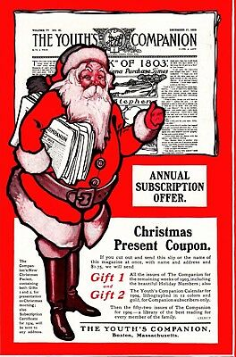 1903 ad Vintage Christmas Youths Companion Santa Clause Subscription Offer color