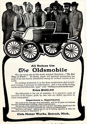 1903 ad Vintage Oldsmobile Runabout All Nations Locomobile 16 hp Gas Touring Car