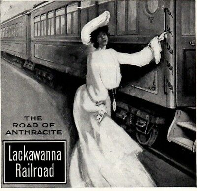 1903 ad Vintage Lackawanna Railroad Lady in White NY to Buffalo Prudential
