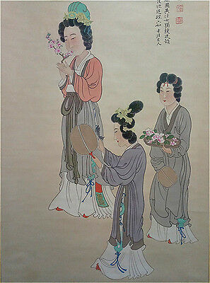 Excellent Chinese 100% Hand Painting & Scroll  Beauty By Zhang Daqian 张大千 WED999