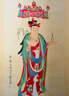 Excellent Chinese 100% Hand Painting & Scroll buddha By Zhang Daqian 张大千 W308