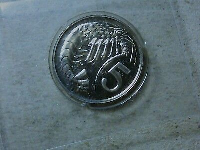 Cayman Islands 5 cents 1973 shrimp from proof