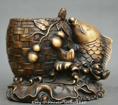 Chinese fengshui old bronze gourd lotus flower fish statue brush pot pencil vase