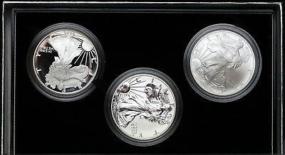 2006 Silver Eagle 20th Anniversary 3 Coin Set Reverse Proof Eagle WITH COA OGP