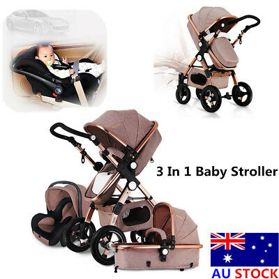 Foldable 3 In 1 Pro Baby Stroller High View Pram Pushchair Bassinet & Car Seat