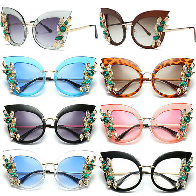 2018 Women Sunglasses Cat Eye Fashion Rhinestone Shade Luxury Oversized Designer