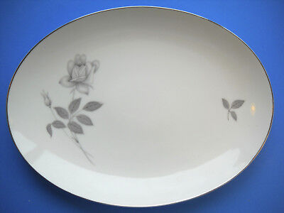"""Queens Royal Fine China Gray Rose 12 1/4"""" OVAL SERVING PLATTER Japan"""