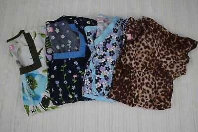 Koi Scrub Top Lot of FOUR Size XS / S Floral Cheetah Spring Nurse Short Sleeve