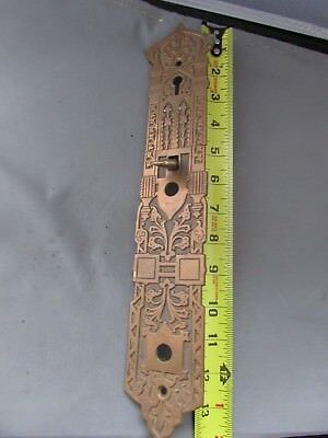 VTG Antique Brass Thumb Latch Door Hardware Back Plate Victorian Eastlake