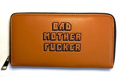 Bad Mother F*cker Wallet - Pulp Fiction, BMF Embroidered Long Brown Leather