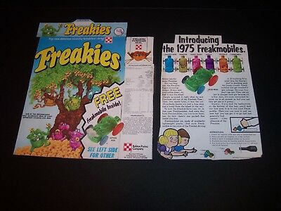 1975 Ralston Purina Co FREAKIES CEREAL Freakmobiles cut from Box Panels