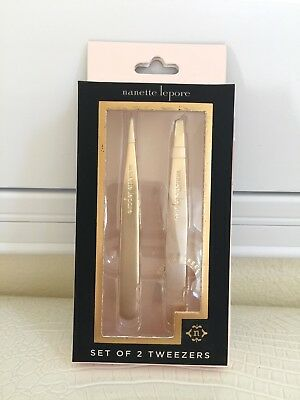 Hair Removal Tweezers Set Nanette Lepore 2x Precision Plucker Tool Gold MetalNIB