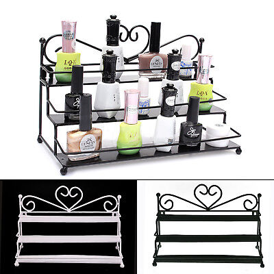 3-Tier Nail Polish Display Wall Rack Table Top Organizer Holder Black/White/...