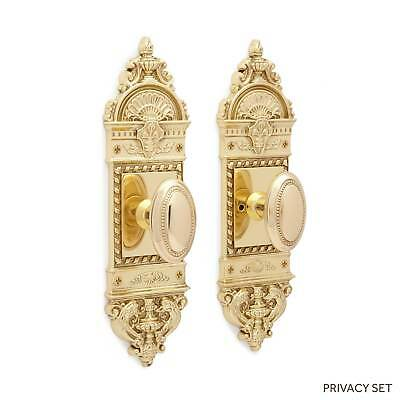 Chloe Small Decorative Door Plate & Small Oval Bead Knob Set in Dummy  Privacy &