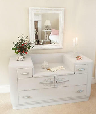 Painted Dressing table and mirror Antique Furniture 1930s painted Art Deco