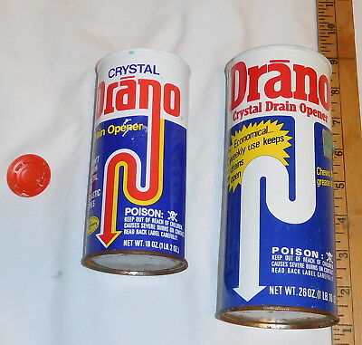 vintage lot of 2 Drano Crystal Drain Opener Tin Cans EMPTY