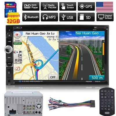 """7"""" Double 2 DIN HD Car DVD Player Bluetooth Radio Stereo Touch Screen MP3 GPS TO"""